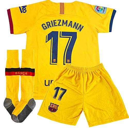 Ioutguy New Griezmann #17 Barcelona Away Kids/Youth Soccer Jersey 2019/2020 Season & Shorts & Socks Color Yellow Size 28 (Barcelona Away Jersey)