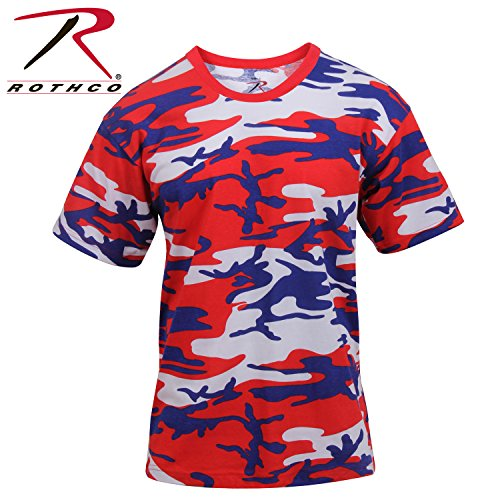 Rothco Camo T-Shirts, Red/White/Blue Camo, - Blue T-shirt Red