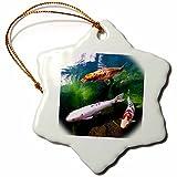 3drose Chinese Koi Carp Fish Snowflake Porcelain Ornament, 3-Inch