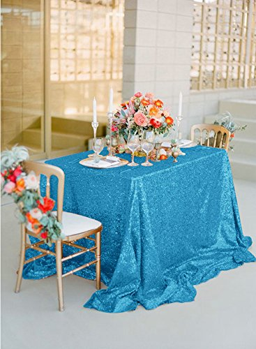 ShinyBeauty Glitter Turquoise Sequin Tablecloth-90x90in Square ...
