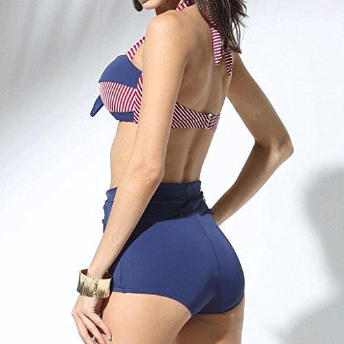 Moda clásica impresión rayas de alta cintura bikini traje de baño Azul