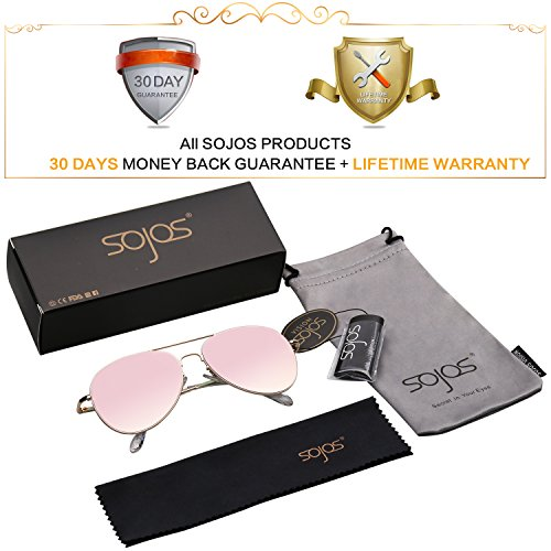 fce523c034 SOJOS Classic Aviator Mirrored Flat Lens Sunglasses Metal Frame with Spring  Hinges SJ1030 with Gold Frame