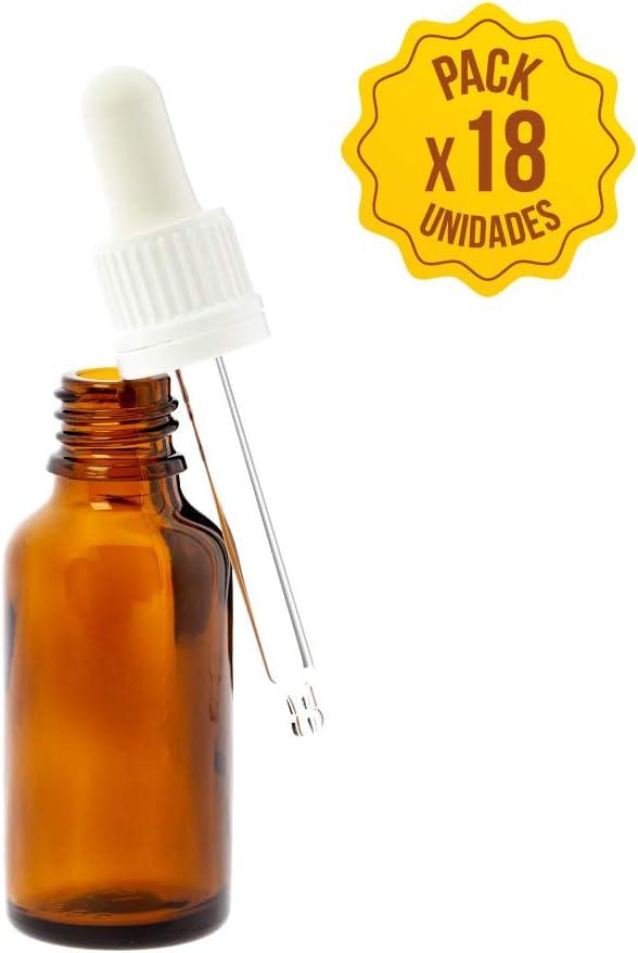 Frasco cuentagotas cristal con difusor botellas frascos vidrio con pipeta de 30ml botella pequeña para aceites esenciales envase de muestras aceite aromaterapia farmacias (18 unidades)