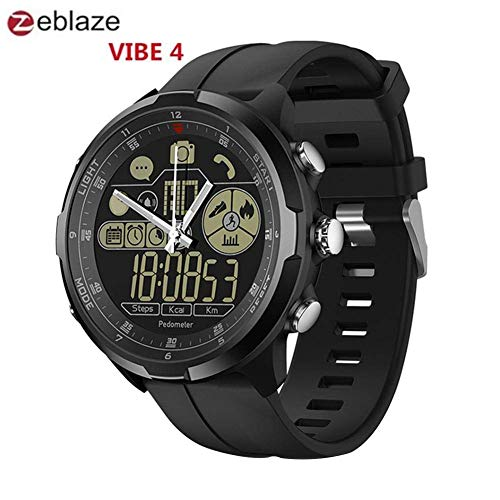 Zeblaze Vibe 4 Hybrid Smart Watch - 1.24-Inch FSTN Full View Display Screen Remote Camera 610Mah Watch 5ATM Waterproof Sports Luminous Multifunctional Men Smartwatch for iPhone Samsung (All Black)