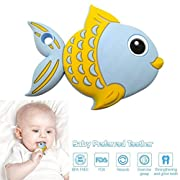 Philyer Baby Teething Toy, Bendable & Freezer friendly Fish Teethers Massage, Soft Silicone, BPA-Free, Natural Organic Infant Toys for Babies - Blue
