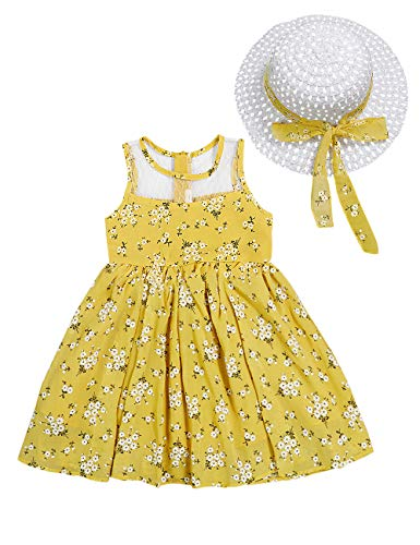 Little Kid Girl Clothes Floral Vest T-Shirt Tops +Shorts Pant with Cute Sun Hat 3Pcs Summer Casual Outfits Set (C-Yellow, 5-6 T)