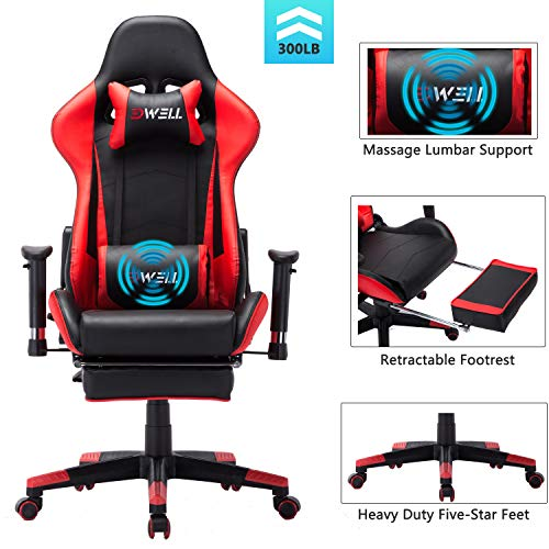 EDWELL Ergonomic Gaming Chair with Headrest and Lumbar Massage Support,Racing Style PC Computer Chair Height Adjustable Swivel with Retractable Footrest Executive Office Chair (Red)