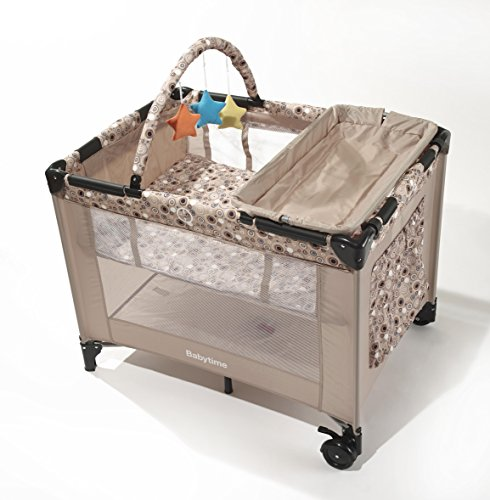 Big Oshi Deluxe Pack 'N Play Playard Nursery Center with Full Size Bassinet, Beige Circles