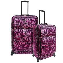 Traveler's Choice Traveler Fashion 2-Piece Spinner Luggage Set, Pink Zebra, One Size