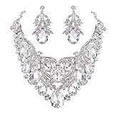 BriLove Women's Bohemian Boho Crystal Teardrop Filigree Leaf Hollow Statement Necklace Dangle Earrings Set