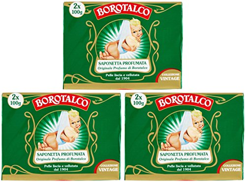 Price comparison product image Roberts: Set of 6 Borotalco Scented Soaps, Vintage Edition (Baby Picture) 3.5 Ounces (100g) Packages (Pack of 6) [ Italian Import ]
