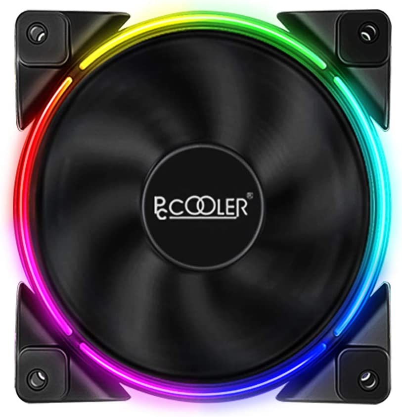 Pccooler 120mm Single Fan Moonlight Series, RGB LED Computer Case Fan - PWM Cooling Fan - Quiet Fan for PC Cases (5 in 1 Kit Replacement/Supplement Fan, 5V 4 Pin ARGB, Cannot Be Used Alone)