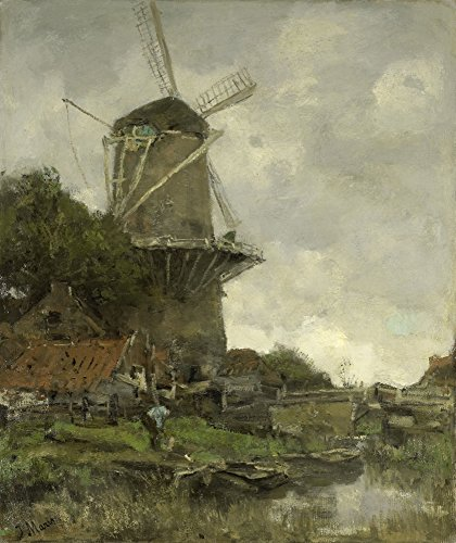 The Windmill By Jacob Maris C 1880-86 Dutch Painting Oil On Canvas Windmill Behind Some Houses And Trees In A Canal A Man Bends Over Near A Barge (Bsloc2016229) Poster Print (24 x 36) ()