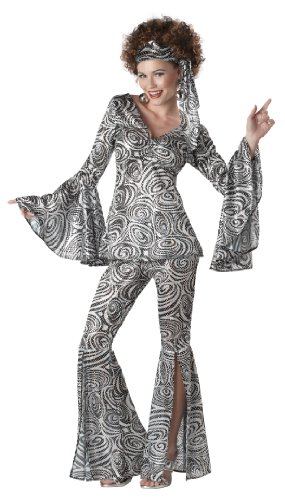 Girl Pimp Costume (California Costumes Foxy Lady Set, Black/Silver,)