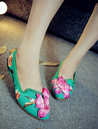 Cheongsam Women Loafer Ladies Lotus and Green Flat Tianrui The Sandals 3D Shoes Crown Embroidery zU5wxqPx1