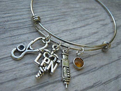 Personalized LPN Bracelet, Expandable Bangle Bracelet, Stainless Steel Bracelet, Licensed Practical Nurse Jewelry Nurse Gift