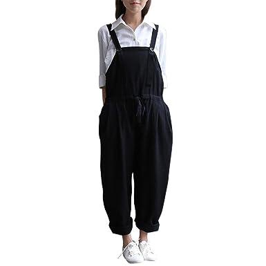 60a0d1d63f51 Qisc Women Pants Womens Casual Loose Cotton Linen Bib Baggy Overalls  Jumpsuit Pants Plus Size Romper