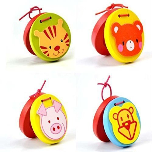 AxiEr Lovley Animal Pattern Wooden Finger Castanet for Baby Early Education 7pcs/set