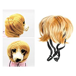 Skaw Doly Cute Pet Dog Costumes Wavy Syethetic Hair Cat Wigs-gift Party Style Supplies