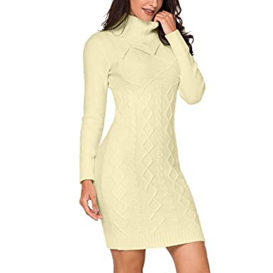 6b8caa36d1 VIGVOG Women s Turtleneck Ribbed Slim Fit Sweater Dress Cable Knit Stretchy  Long Sweater Pullovers Jumper (