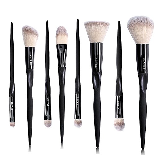 UCANBE Blush Contour Powder Brushes - Foundation Concealer Bruhes - Eye shadow Eyeliner Blending Kit - 8 pcs Professional Makeup Brush (Skull Makeup Kit)