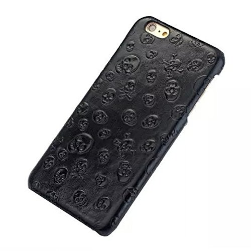 DWaybox iPhone 6S Plus Case Skull Pattern Luxury Genuine Leather Hard Case Cover for Apple iPhone 6S Plus/6G Plus 5.5 Inches (Black) (Black Skull Hard Case)
