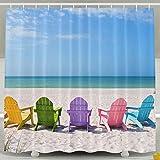 BINGO FLAG Funny Fabric Shower Curtain Summer Beach Chair Waterproof Bathroom Decor With Hooks 60 X 72 Inch