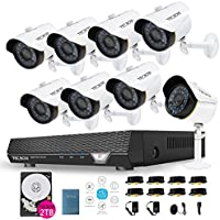 TECBOX Home Security Camera System 8 Channel 720P AHD DVR Recorder 2TB Hard Drive Preinstalled With 8 HD 1.3MP Waterproof Night Vision Indoor Outdoor CCTV Surveillance Camera