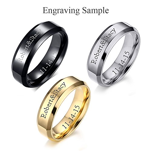 (Free Engraving) 3 Color Set Stainless Steel Personalized Plain Band Ring for Men and Women,Black,Size 8