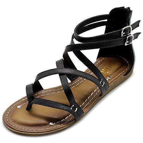 (Ollio Women's Shoe Gladiator Strap Flat Zori Sandal M1052 (11 B(M) US, Black))