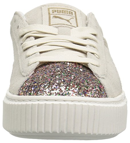 PUMA Womens Suede Crushed Gem Platform, Marshmallow-Metallic Gold, 10.5 M US