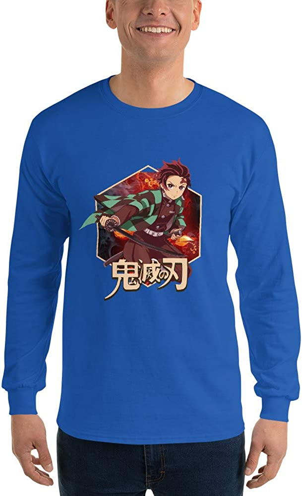 Tanjiro Kamado Demon Slayer Kimetsu no Yaiba Anime Men//Women Unisex Long Sleeve T-Shirt