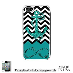 Anchor Live the Life You Love Infinity Quote - Turquoise Black White Chevron with Anchor iphone 4s Hard Case - WHITE by Unique Design Gifts [MADE IN USA]