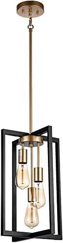 JINZO 3-Light Rectangle Chandelier Black and Gold Farmhouse Pendant Lighting
