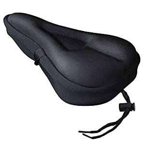 Zacro Gel Bike Seat - BS031 Extra Soft Gel Bicycle Seat - Bike Saddle Cushion with Water&Dust Resistant Cover (Black)