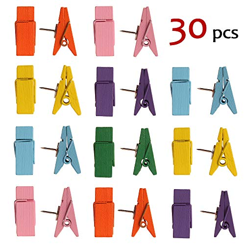 (Push Pin Clips - 30 Pcs 6 Color Paper Clips with Pin for Documents/Artworks/School Projects/Photos/Notes/Papers/Cork Board/Bulletin Board - Clip Thumbtack - No Holes for The Paper )