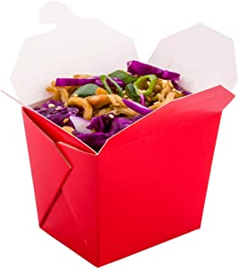Bio Tek 8 Ounce Chinese Take Out Boxes, 200 Leak And Grease-Resistant Food To Go Boxes - Tab-Lock, Stackable, Red Paper Take Home Boxes, Recyclable, For Restaurants, Catering, And Parties