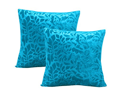 Warmland Premium Floral 2 Piece Velvet Cushion Set – 12″x12, Sky Blue