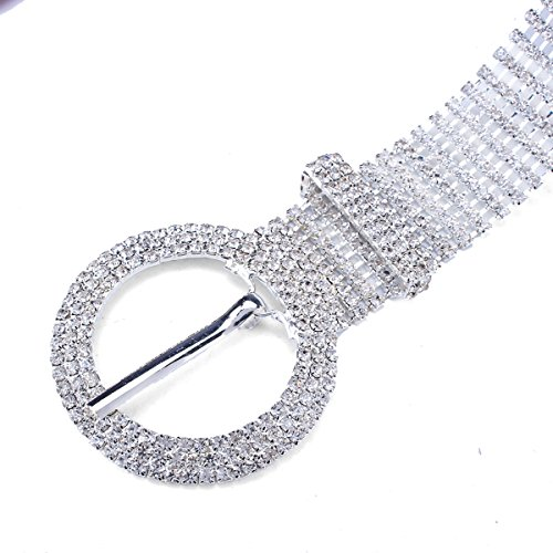 Stuff 10 Lines Rhinestone Crystal Chain Waist Buckle Belt Fashion Accessory for Women Wedding Prom Evening Dresses Accessory (4#)
