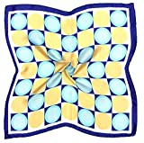 Blue Yellow Circle Printed Fine Small Silk Square Scarf