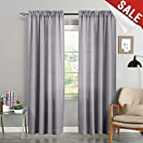 Grey Semi Sheer Curtains for Living Room 84 inches Long Window Curtain Panels