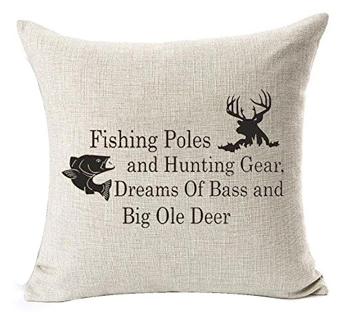 Nordic simple Sayings fishing pole and hunting gear deer elk Cotton Linen Square Throw Waist Pillow Case Decorative Cushion Cover Pillowcase Sofa 18