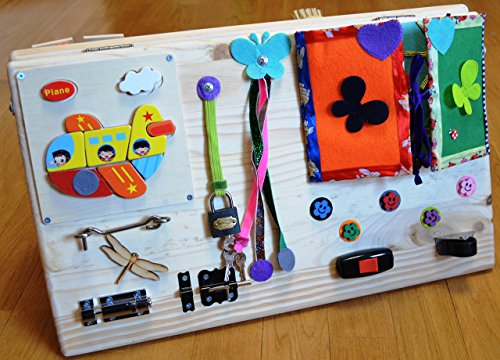 Busy board, Activity board, Travel toys, Wooden toys, Sensory board for baby, Montessori kid toy, Latch board, Learning toy, toddler toy by FoxFamilyBoutique