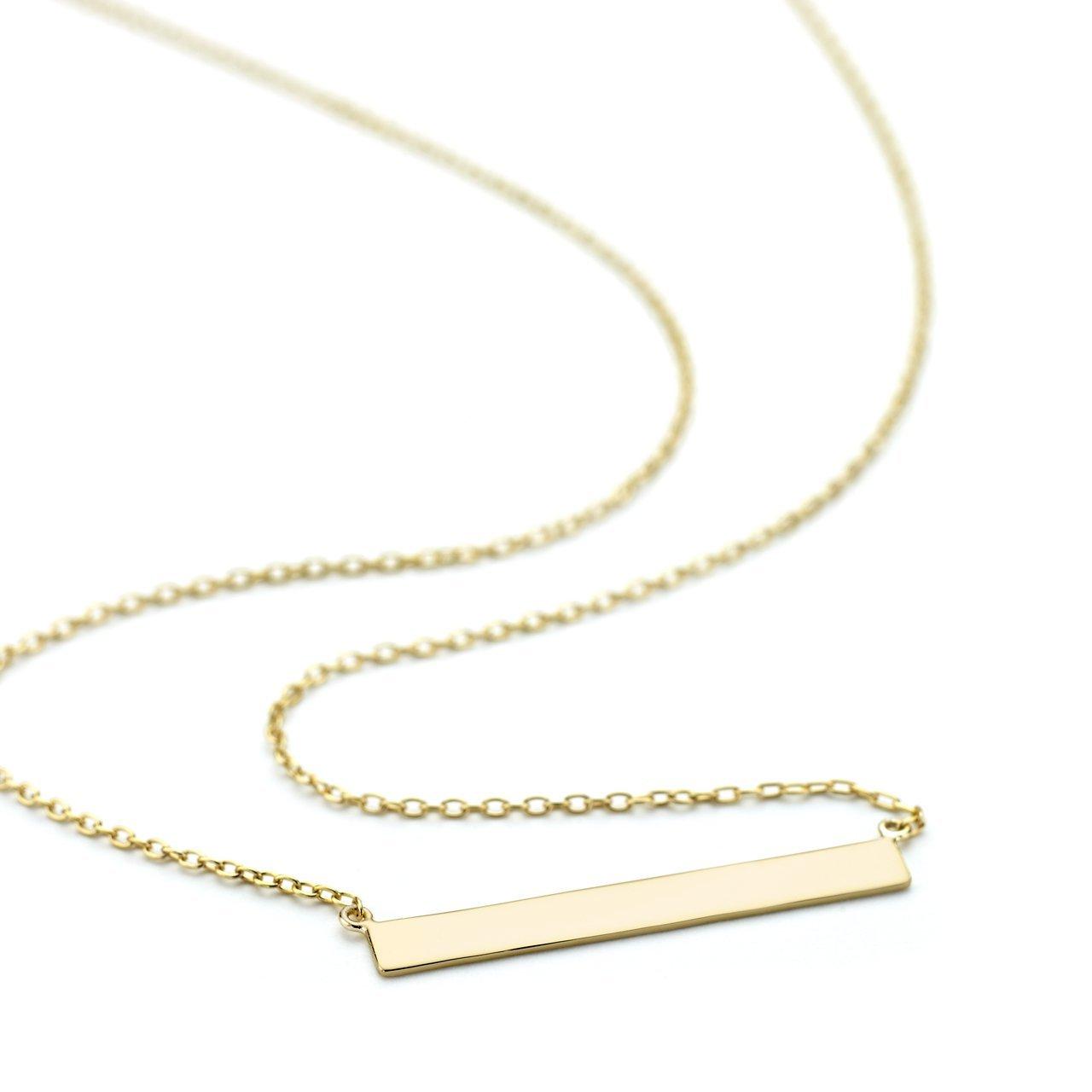 OneByOne N0011 4mm Wide Flat Bar Necklace WLD6ouSXaJ
