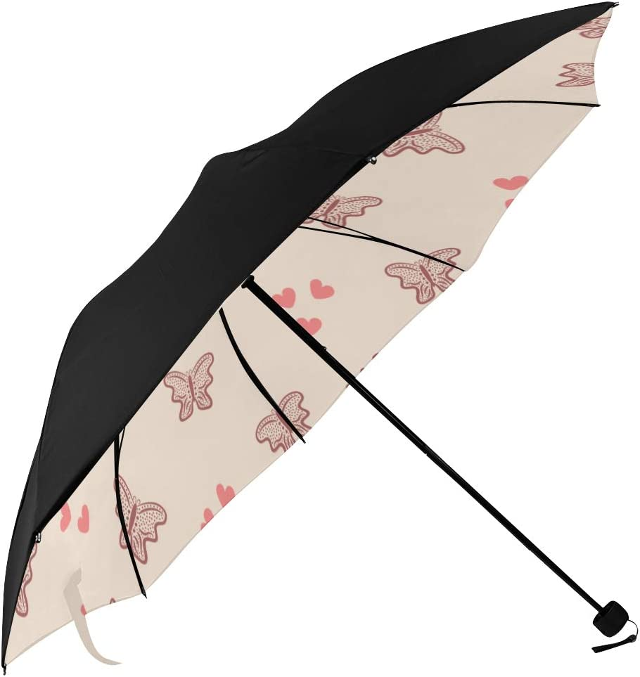 Compact Uv Umbrella Repeating And Butterflies Underside Printing Foldable Compact Umbrella Travel Umbrella For Kids With 95 Uv Protection For Women Men Lady Girl