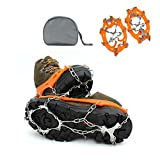 DOSWODE Traction Cleats Crampons Ice and Snow Boot Spikes Anti-slip Hiking Climbing with 12 Teeth Stainless Steel(L)