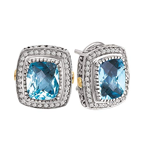 925 Silver, Blue Topaz & Natural Diamond Earrings with 18k Gold Accents (0.35ctw)