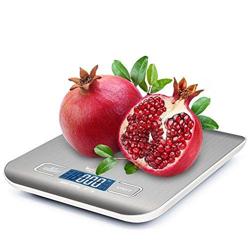5KG Digitale Küchenwaage, ikalula LCD-Display Professionelle Küchenwaage Edelstahl und Schlankes Design Inkl Batterie Lebensmittelwaage für Küche und Haushalt - Sliber