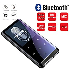 Bluetooth Mp3 Player Touch Mp 4hifi Lossless Sound Quality 5D Sound Effect PCM Recording Hyperboloid Glass Screen 16G, Black,Black