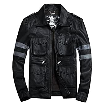 Mens Motocycle Bomber Biker Jacket PU Faux Leather COS RE6 Leon BLACK